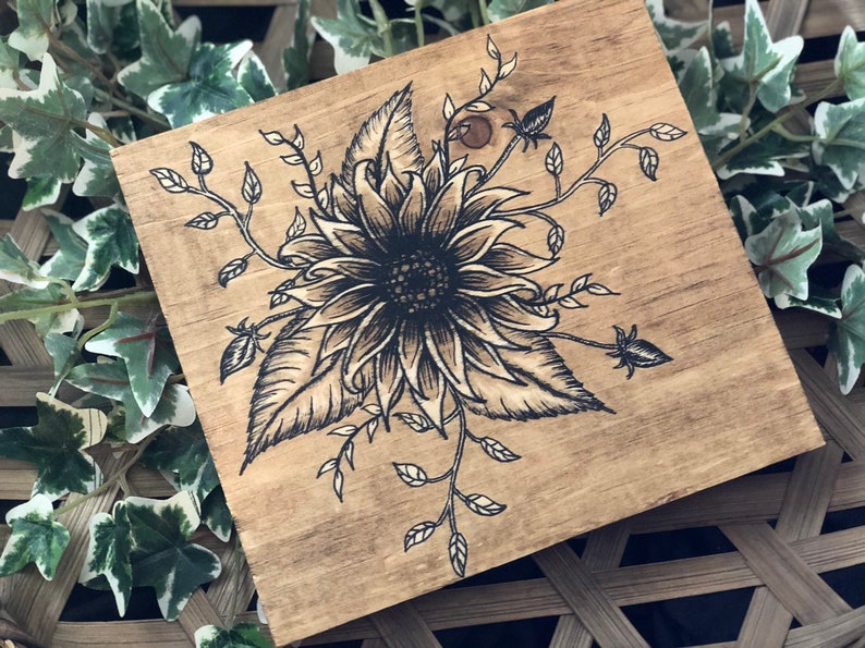 Hand Painted Flowers Wood Wall Art image 0