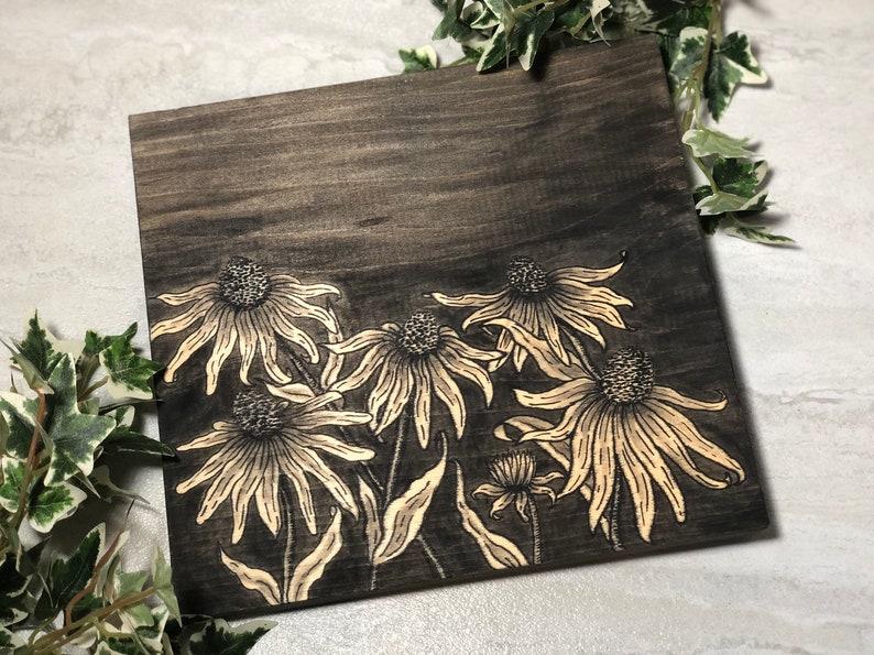 Black Eyed Susan Flower Drawing Painted Wood Sign image 0