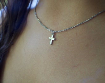 cd7af964a58f4b Dainty Cross Necklace, Stainless Steel Chain and Cross Charm, Tiny  Minimalistic Necklace, Delicate and Small, Industrial Style