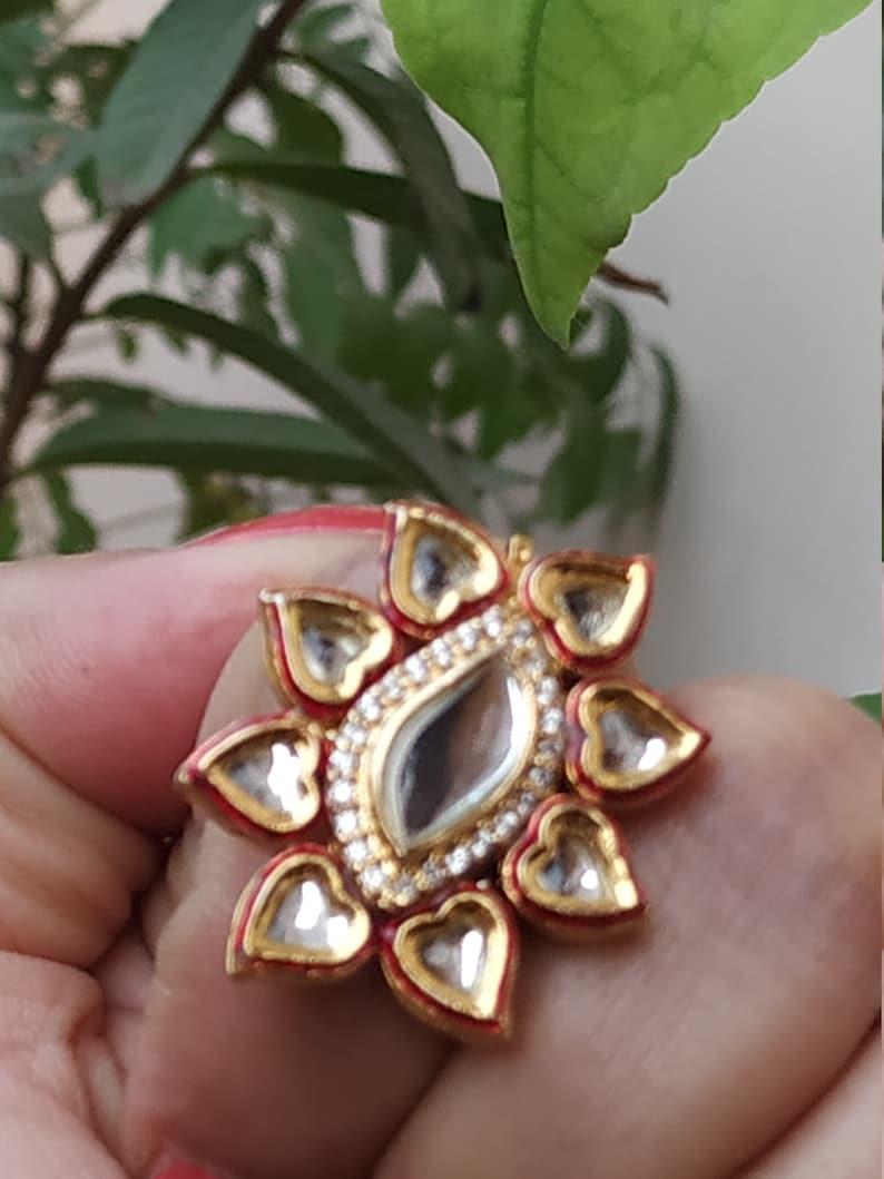 High Quality Kundan Finger RingTraditional Cocktail RingStatement Kundan meenakari RingAdjustable RingBollywood Kundan Jewelery