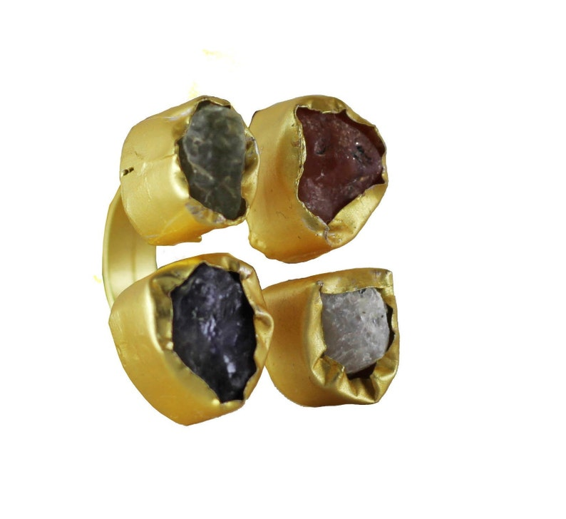 Adjustable Ring Christmas Gifts for Her Handmade Ring Raw Uncut Stone Ring,Floride rough stones 4 Stone Ring,18k gold plated Cocktail Ring