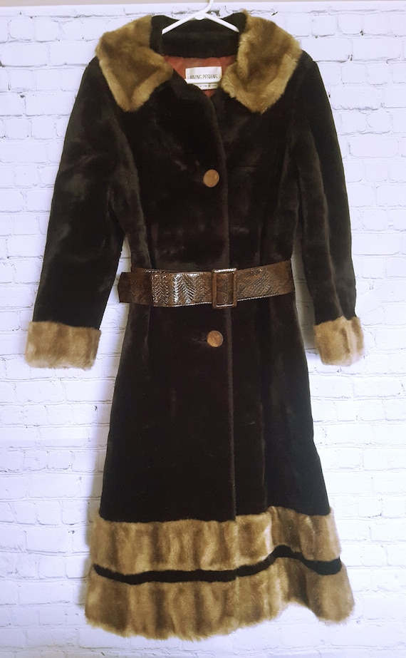 Vintage 1970's Long Faux Fur Coat - Vintage Faux F