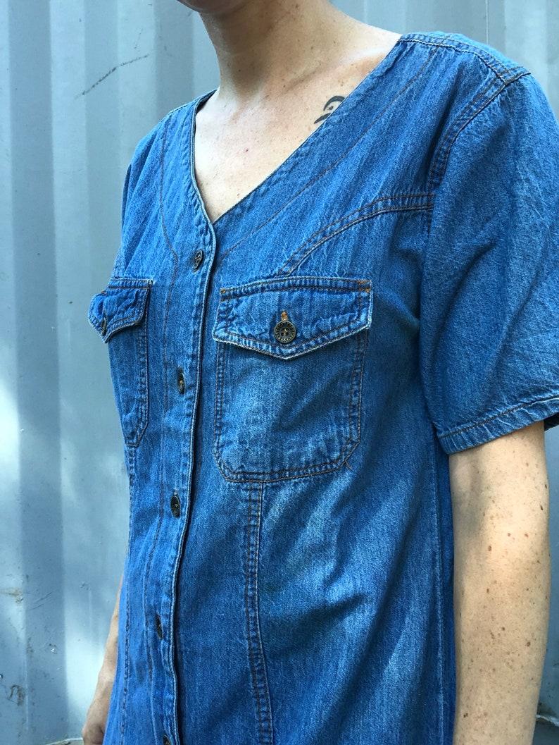 Grunge Girl Half Sleeve Square Pocket Button Up 1990s Streetwear Riot Grrrl Punk Rock Modern Boho Jean Denim Maxi Dress
