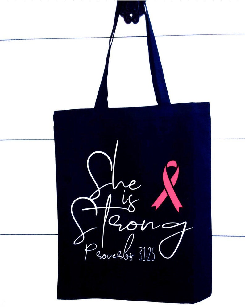 Cancer Survivor Gift Ideas Support Gifts for her Bible Verse gift Cancer Inspirational Tote She is Strong Breast Cancer Awareness Bag