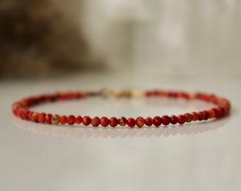Genuine Coral bracelet 2mm, bracelet femme, red boho bracelet, tiny coral bracelet, gemstone bracelet, Genuine Coral womens bracelet
