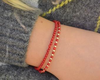 Genuine Coral bracelet 3mm, bracelet femme, red boho bracelet with Gold Hematite, tiny coral bracelet, gemstone bracelet