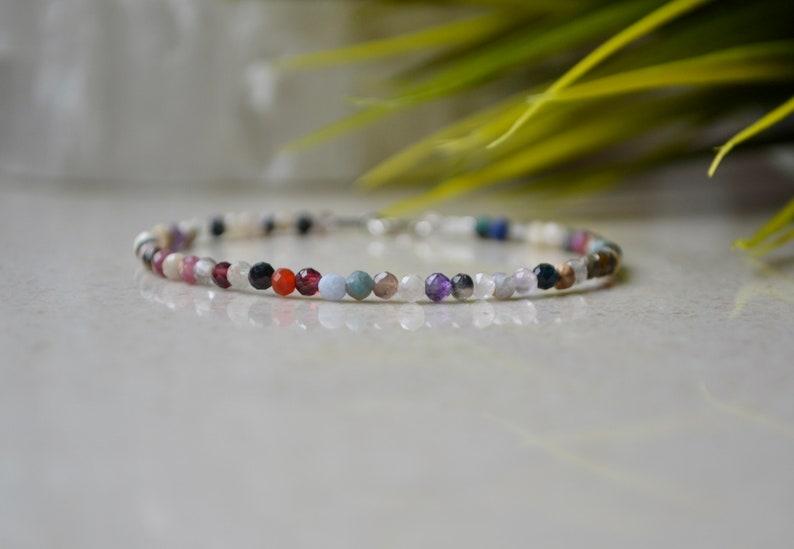 mix of beads bracelet gemstone colorful bracelet 3mm tourmaline bracelet with Sterling silver clasp Multicolor bracelet bracelet femme