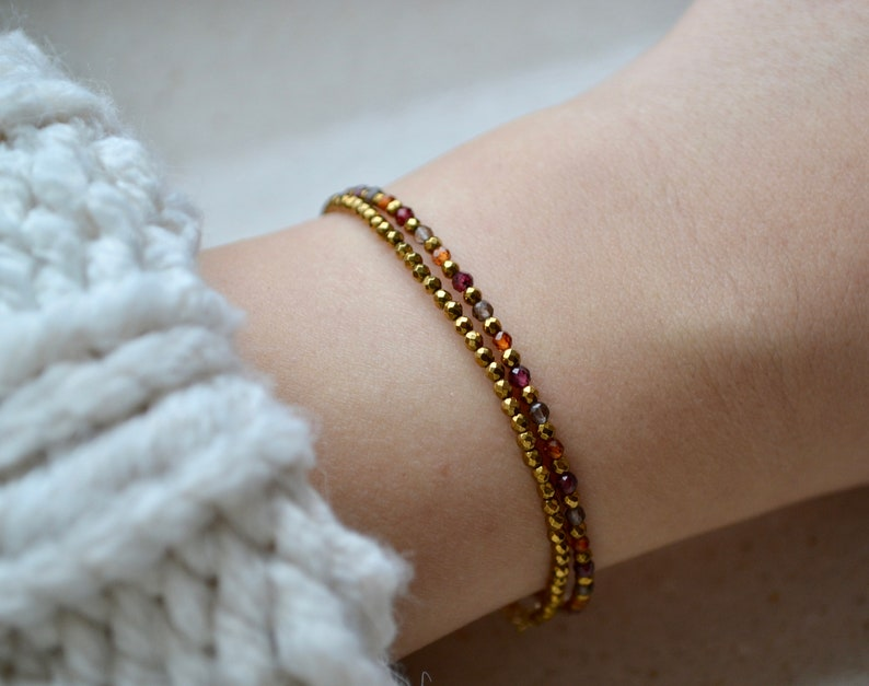 January Birthstone delicate gemstone jewelry Dainty Red Garnet bracelet with smoky quartz and gold hematite burnt orange bracelet femme