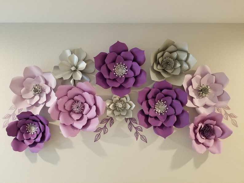 Purple Shades Silver Paper Flowers For Bedroom Decor Baby S Room Baby Shower Bridal Shower