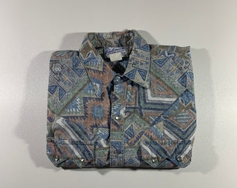 6c86b2f8 Tru West Rockmount Ranch Wear All Over Print Pearl Snap Shirt Made in USA  Size M