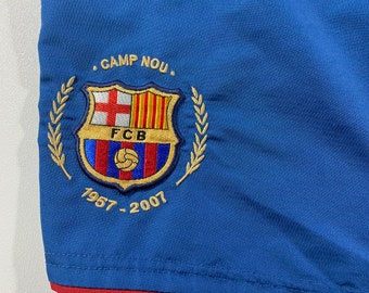 218b9c06ac Nike FC Barcelona Camp Nou Embroidered Shorts Size Large 50 year  anniversary 1957-2007