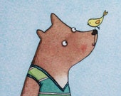 Tank top Bear and bird Gr...