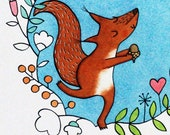 Squirrel A4 Giclee print,...
