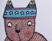 Tassel Hat Bear card, par...