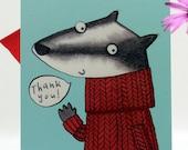 Badger Thank You 10 postcard pack. Thank you card. Notelet. Postcard. Badger. Jumper. Thanks. Illustration. stationery set