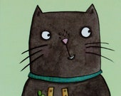 You can do it card. Good Luck. Black cat. fingers crossed. four leaf clover. Illustrated cat card. Lucky black cat.