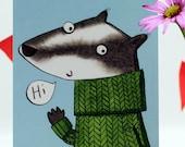 Badger 'Hi' 10 postcard set, 'Hi' postcards, notelets, badger, character illustration, hand drawn, badger in a jumper, stationery set.