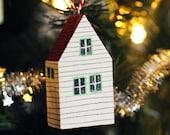 little house decoration, Christmas decoration, tree decoration, ornament, wood, hand painted, new  home, stocking filler, secret santa