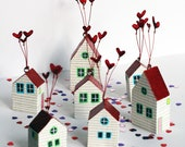 Heart House, little house decoration, home, valentines gift, love, wedding, ornament, hand painted, anniversary, girlfriend gift