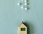 Snow House, Little wooden house, Christmas decoration, mobile, hanging decoration, hand painted, gift, little home, snow, cloud