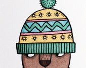 Bobble Hat Bear A4 giclee...