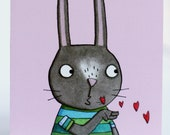 Thinking of you card. rabbit blowing kisses. sympathy. hard times. friendship. empathy. illustrated character. sending love