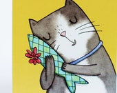 Thank you card. cat, present, gift, party, illustrated card, birthday, Christmas