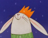 Have a magical Christmas. Rabbit. Bunny. Illustrated card. Wonder. Snow flakes. cute character.