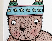 Tassel Hat Bear A4 giclee print, kids room, children's decor, tweens, teens, wall decor, bedroom