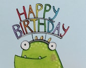Happy Birthday, Monster card, Quite Nice Monsters, Birthday card, unisex card, hand drawn, boys, girls, illustrated character