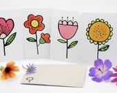 Bloom flower postcard pack, postcard set, note lets, illustration, card set, small gift, card pack, mothers day, letterbox gift