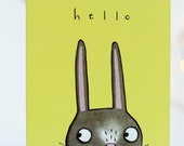 Hello! Getting in touch. Thinking of you. Friends. Relatives. Loved ones. Rabbit. Illustrated card.miss you. hug card. sending a hug