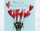 Happy Anniversary. Love hearts. Rabbit. Love you. Heart balloons. Hand drawn illustrated card. couple, partner, husband, wife.