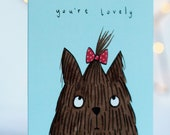 You're lovely card. animal valentines. friends. friendship. love you. love. girlfriend. boyfriend. valentines day. anniversary