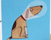 Feel better soon card, get well card, ill, poorly, sick, dog, covid, thinking of you, illness, illustration.