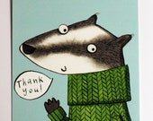Badger Thank You 10 postc...