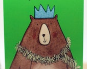 Happy Christmas card. Bear. Tinsel. Illustrated card.