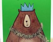 Happy Christmas card. Bear. Tinsel. Illustrated card.