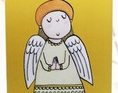 Christmas angel card, Happy Christmas card, Merry Christmas card, Christmas wishes, illustrated card, character card.