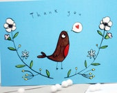 Thank you Bird winter postcard set, Christmas thank you's, notelet, robin, flowers, card set, present thank you,  gift thank you, card pack.