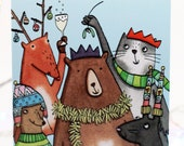 Happy Christmas from us all, Family Christmas card, group Christmas card, work Christmas card, Happy Xmas, Christmas card, illustrated card