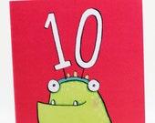 tenth birthday, Happy Birthday, ten year old, Children's birthday, Quite Nice monsters, tenth birthday card, boys, girls, monster card