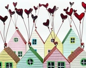Heart House, little house decoration, home, Mothers Day gift, love, wedding, ornament, hand painted, anniversary, girlfriend gift