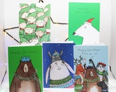 Christmas card pack, Xmas card set, variety pack, Christmas Greetings, 5 Christmas cards, illustrated, hand drawn, characters.