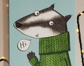 Waving Badger card, Hi, H...