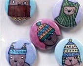 Woolly Bear badge set, be...