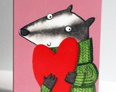 Badger with love card, Va...