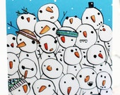 Snowmen Christmas card, Happy Christmas card, snow, Illustrated card, character card, Christmas wishes.