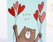 Love you card. Bear. love hearts. I love you. couple. friends. valentines. romantic. illustration. anniversary. boyfriend. girlfriend.