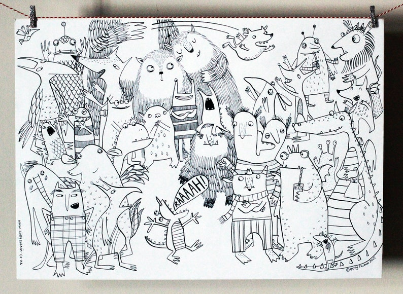 Monster Colouring-in poster Christmas present gift wall image 0